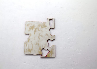 <strong>shhhturz Herr Satz</strong><br />2017<br /><em>Acrylic paint and acrylic medium on plywoods,<br /> 70 x 55 cm</em>